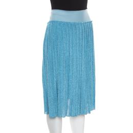Sonia Rykiel Metallic Blue Ribbed Waist Pleated Midi Skirt S 170255