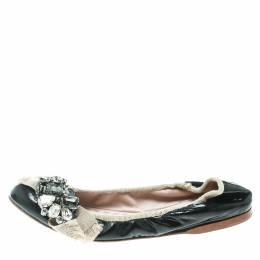 Miu Miu Black/Beige Patent Leather Crystal Embellished Scrunch Ballet Flats Size 38.5 170110