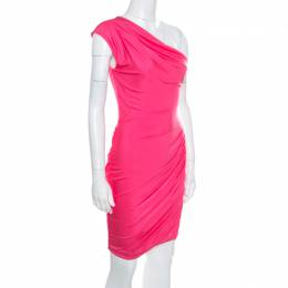 Emilio Pucci Pink Knit Draped One Shoulder Dress S
