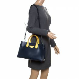 Balenciaga Blue/Yellow Leather Work S Top Handle Bag 170268