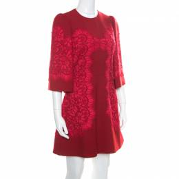Dolce&Gabbana Red Floral Lace Applique Detail Fit and Flare Dress S 170938