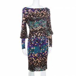 M Missoni Multicolor Dot Printed Stretch Knit Scoop Back Dress S 170926