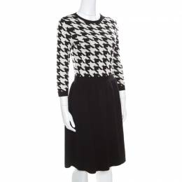 Dior Monochrome Houndstooth Paneled Wool Dress S 170659