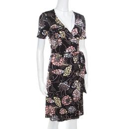 M Missoni Black Printed Silk Jersey Patch Pocket Detail Wrap Dress S 170654