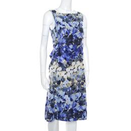 Moschino Blue Floral Printed Linen Silk Bateau Neck Shift Dress S 170715