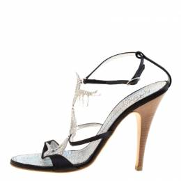 Giuseppe Zanotti Design Black Satin Crystal Embellished Strappy Sandals Size 38.5 170417