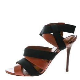 Fendi Brown Leather And Black Elastic Strappy Sandals Size 40 171325