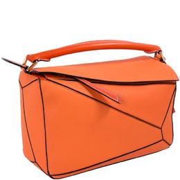 Loewe Orange Leather Small Puzzle Shoulder Bag