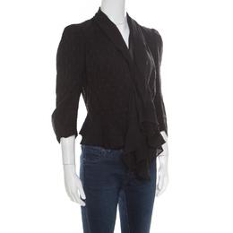 Alexander McQueen Black Faux Layered Drape Detail Cropped Blazer S 171032