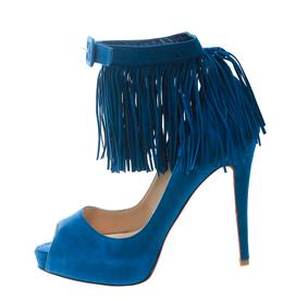 Christian Louboutin Cobalt Blue Suede Tina Fringe Detail Ankle Strap Peep Toe Pumps Size 37 171638