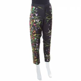Gucci Black Floral Printed Silk Tapered Pants S 170467