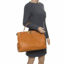 Fendi Brown Selleria Leather Large Peekaboo Top Handle Bag 170479
