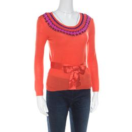 Dior Orange Wool and Silk Crochet Neck Detail Belted Sweater M 171042