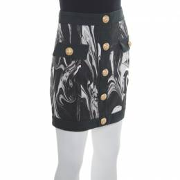 Balmain Monochrome Marble Printed Logo Button Detail Mini Skirt S 171679
