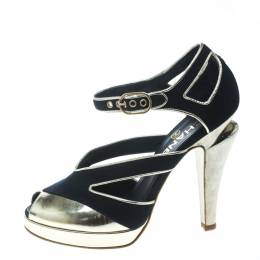 Chanel Black Canvas With Metallic Gold Leather Cut Out Peep Toe Pumps Size 36.5 171644