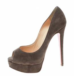 Christian Louboutin Brown Suede Lady Peep Toe Platform Pumps Size 36 171902