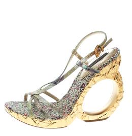 Louis Vuitton Multicolor Brocade Fabric Feerique Morganne Wedge Strappy Sandals Size 36 171989