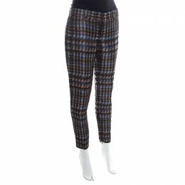 Gucci Metallic Houndstooth Pattern Silk Jacquard Skinny Trousers S 171043
