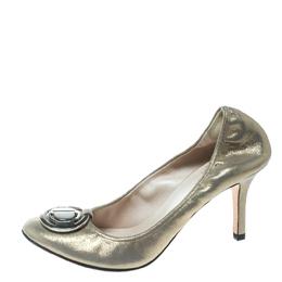 Dior Metallic Glitter Nubuck Round Logo Scrunch Pumps Size 36.5 171682