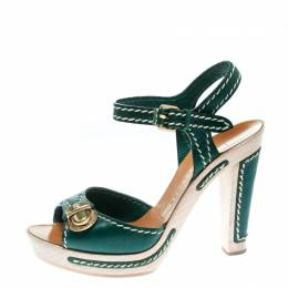 Marc Jacobs Green Leather Buckle Detail Ankle Strap Wooden Platform Sandals Size 36 172455