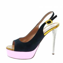 Giuseppe Zanotti Design Multicolor Suede And Leather Peep Toe Platform Slingback Sandals Size 36.5 172495
