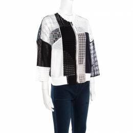 3.1 Phillip Lim White and Navy Blue Cotton Eyelet Patchwork Detail Bomber Jacket S