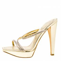 Rene Caovilla Metallic Gold Crystal Embellished Leather Cross Strap Platform Sandals Size 36 174374