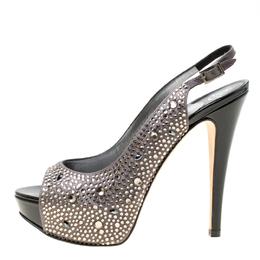 Gina Grey Satin Crystal Embellished Platform Peep Toe Slingback Sandals Size 37 174318