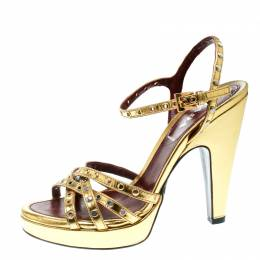 Prada Gold Leather Studded Platform Ankle Strap Sandals Size 36 174448