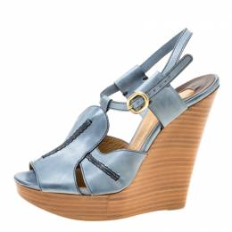 Chloe Blue Leather Peep Toe Platform Wedge Sandals Size 38 174817