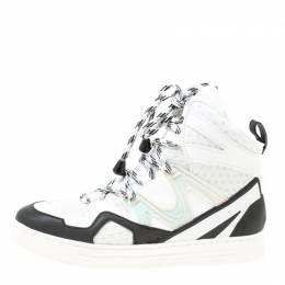 Marc By Marc Jacobs Monochrome Leather And Mesh High Top Sneakers Size 38 174771