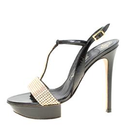 Gina Black Patent Leather Crystal Embellished Platform Sandals Size 37 174849