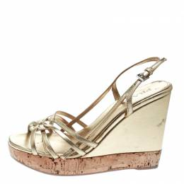 Prada Gold Leather Sligback Platform Wedge Sandals Size 36 174770