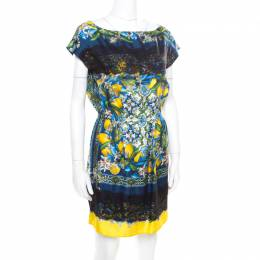 Dolce&Gabbana Lemon Mosaic Printed Silk Lace Trim Tunic Dress M 340193