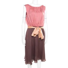 Escada Colorblock Silk Belted Sleveeless Denise Dress M 174795