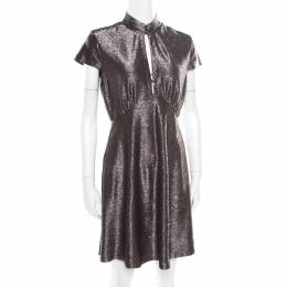 Just Cavalli Silver Textured Short Sleeve Keyhole Detail Dress M 174802