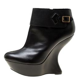 Alexander McQueen Black Leather Curve Wedge Platform Ankle Boots Size 40 175503