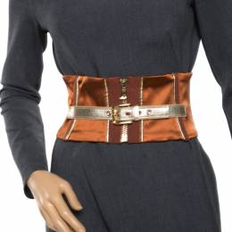 Dolce&Gabbana Caramel Brown Tie-Up Detail Corset Belt M 172436
