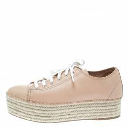 Miu Miu Dusty Pink Espadrille Platform Sneakers Size 40 175041
