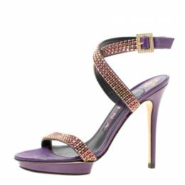 Gina Purple Crystal Embellished Leather Cross Ankle Strap Sandals Size 37 174321