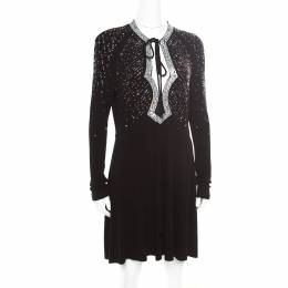 Just Cavalli Black Knit Multicolor Crystal Embellished Long Sleeve Dress M 174810