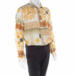Etro Multicolor Pasta Print Long Sleeve Button Front Cotton Shirt XXL