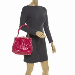 Prada Pink Crocodile Frame Top Handle Bag 175040
