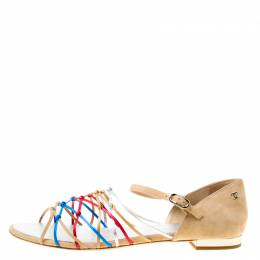 Chanel Multicolor Leather and Suede Knot Detail Flat Sandals Size 41