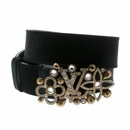 Louis Vuitton Black Satin Rhinestone Fleurs Runway Belt 85 CM 175777