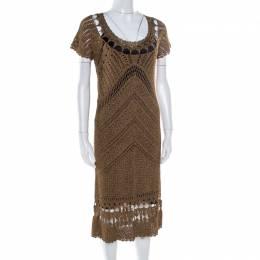 Diane Von Furstenberg Dull Gold Perforated Crochet Knit Kalakaua Dress L 176110