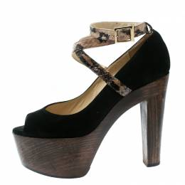 Jimmy Choo Black Suede And Embossed Python Leather Ankle Strap Platform Pumps Size 38 176370