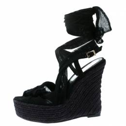 Fendi Black Tulle Fabric and Suede Wedge Espadrille Tie Up Sandals Size 39 176122