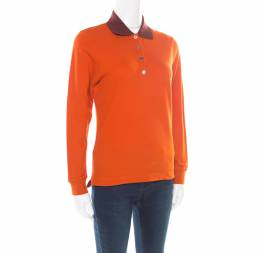 Hermes Seiller Orange Contrast Trim Detail Polo T-Shirt S 176335