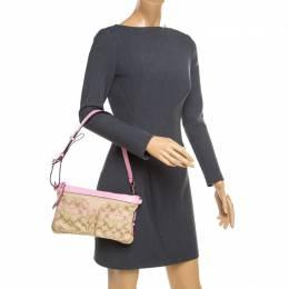 Coach Beige/Pink Signature Canvas and Leather Shoulder Bag 176133